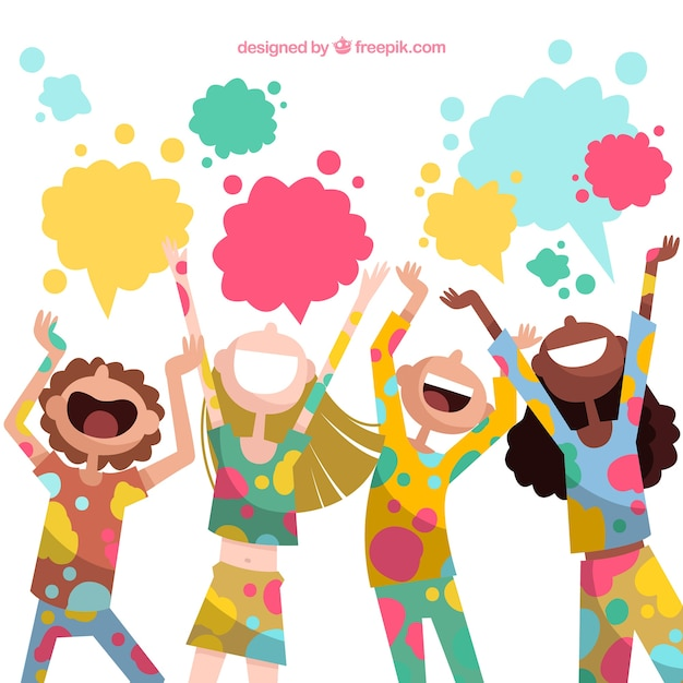 People celebrating holi festival in hand drawn style Free Vector