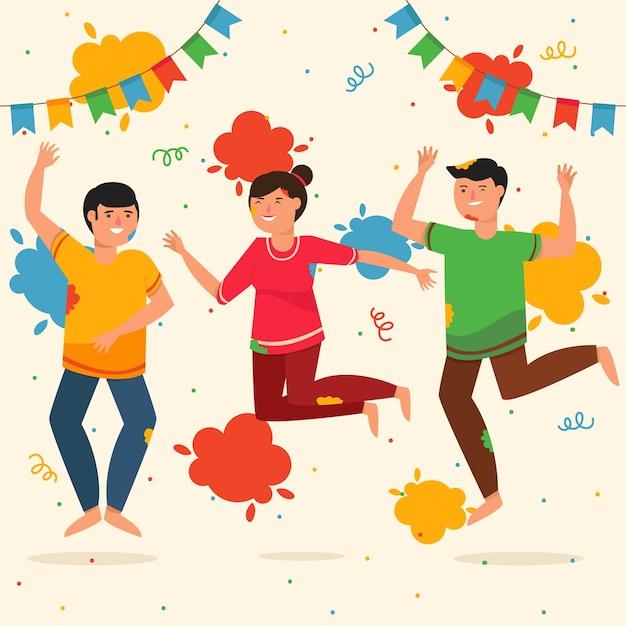 Люди празднуют тему фестиваля холи Бесплатные векторы