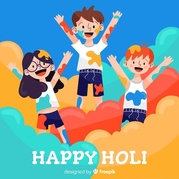 People celebrating holi festival Free Vector