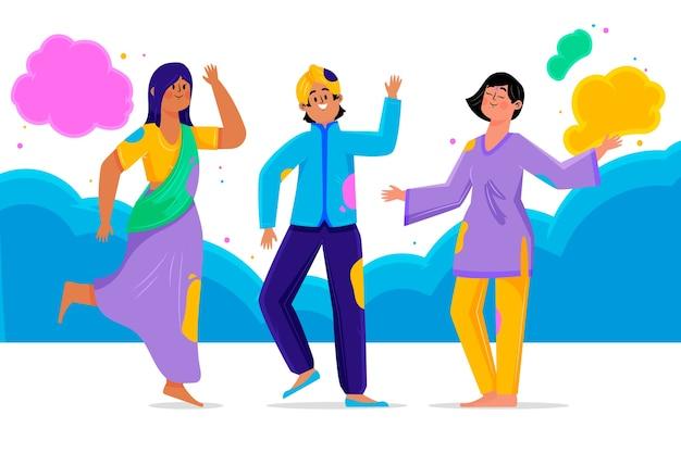 Люди празднуют праздник холи Бесплатные векторы