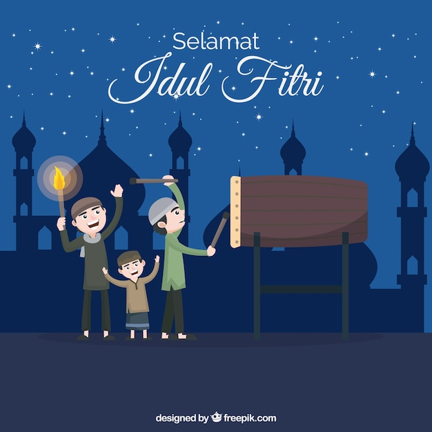 People celebrating idul fitri with flat design Free Vector
