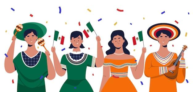 メキシコの独立記念日を祝う人々 Premiumベクター