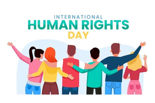 国際人権デーを祝う人々 無料ベクター