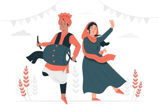 People celebrating lohri festivalconcept illustration Free Vector