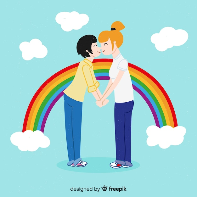 People celebrating pride day Free Vector