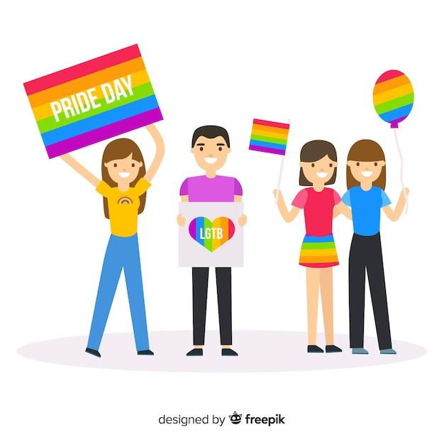 People celebrating pride day Free Vector