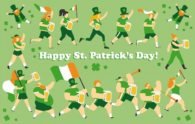 People celebrating saint patrick's day set Premium Vector