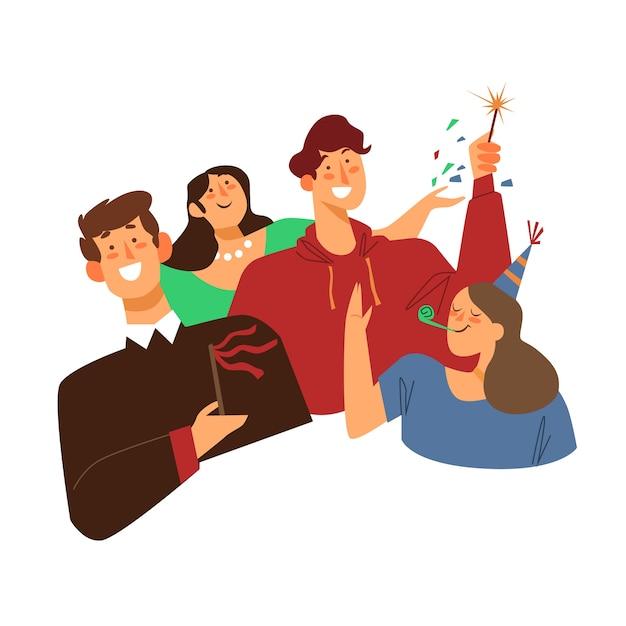 People celebrating together illustration Free Vector