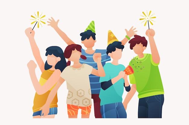 Люди празднуют вместе Бесплатные векторы