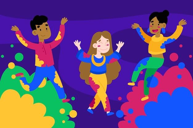 People celebration holi festival Free Vector