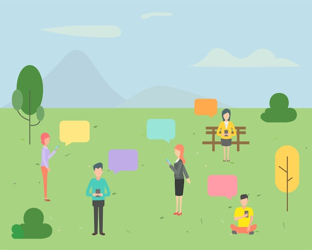 People character chatting in the park background. Premium Vector