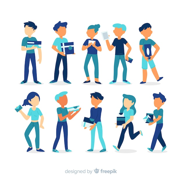 People character collection Free Vector