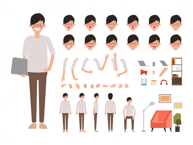 People character creation design animated. Premium Vector