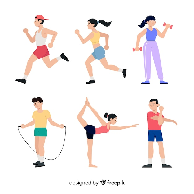 People character doing sport collection Free Vector