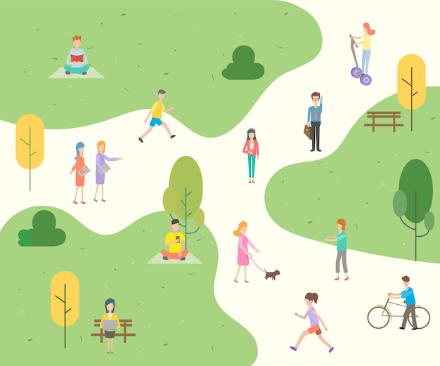 People character in the park background. Premium Vector