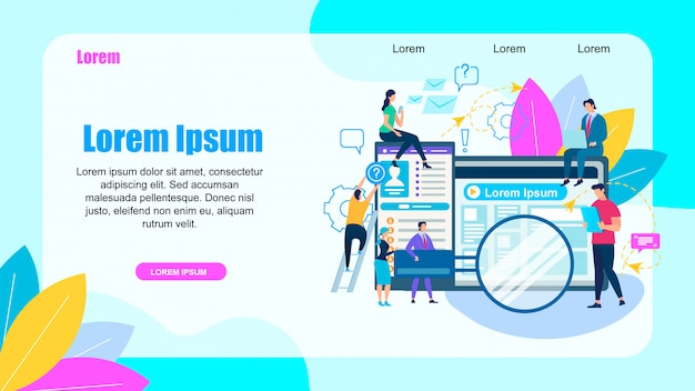 People characters around of big purple word search Premium Vector