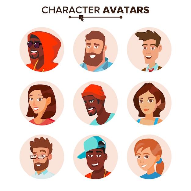 人のキャラクターのアバターセット。 Premiumベクター