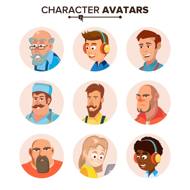 People characters avatars set. Premium Vector