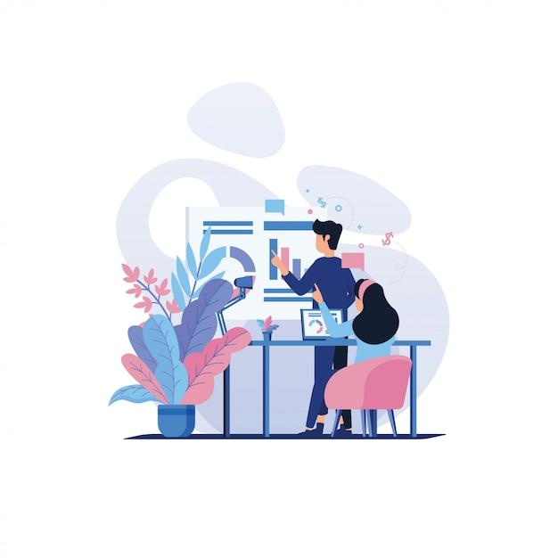 会議で協力する人々のキャラクター Premiumベクター