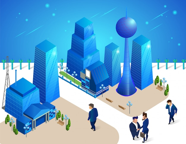People characters move among futuristic buildings. Premium Vector