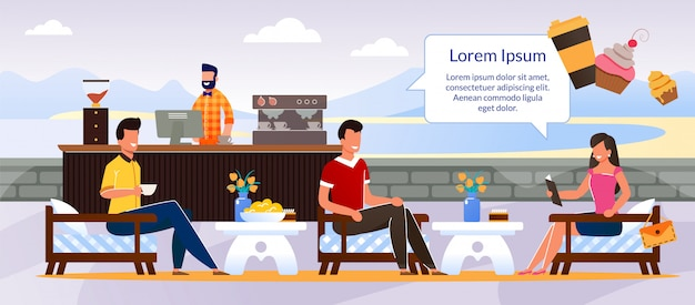 People characters rest at outdoors cafe cartoon Premium Vector