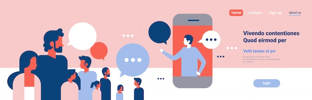 People chat bubbles mobile application communication speech dialogue man woman character background portrait copy space banner flat Premium Vector