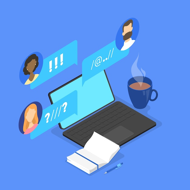People chat on the forum in internet concept. online communication with friend. social connection. share opinion with group of people.  isometric illustration Premium Vector