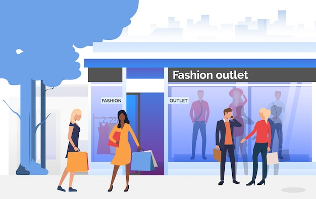 People chatting and carrying bags near shop window Free Vector