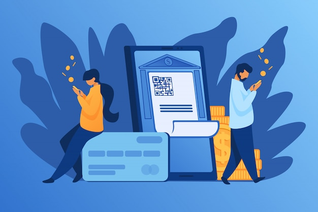 People check money on accounts Free Vector