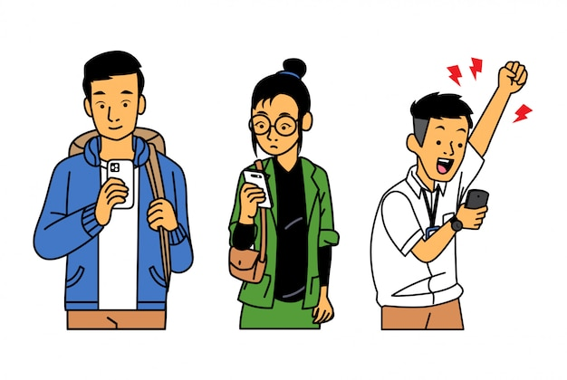 People checking their phone with various expression Premium Vector