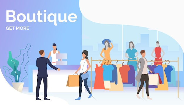 People choosing and buying clothes in boutique Free Vector