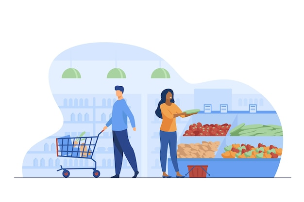 People choosing products in grocery store. trolley, vegetables, basket flat vector illustration. shopping and supermarket concept Free Vector