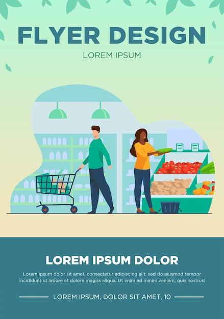 Люди выбирают продукты в продуктовом магазине. тележка, овощи, корзина плоская векторная иллюстрация. концепция магазинов и супермаркетов для баннера, дизайна веб-сайта или целевой веб-страницы Бесплатные векторы
