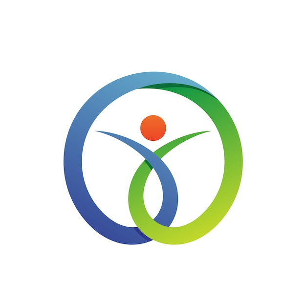 People in circle health care logo vector Premium Vector