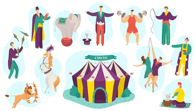 People in circus performance  illustration set, cartoon  fun active artist character performing magic show  on white Premium Vector