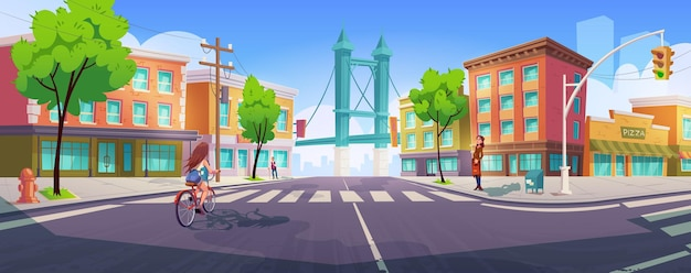 People on city street with crossroad, buildings and bridge. Free Vector