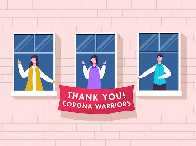 People clapping to appreciate and holding thank you corona warriors banner from balcony or window on pink brick wall background. Premium Vector