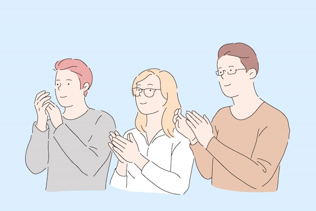 People clapping hands . young male and female friends, office workers applauding, social acknowledgement, colleagues, partners support and congratulation gesture. simple flat Premium Vector