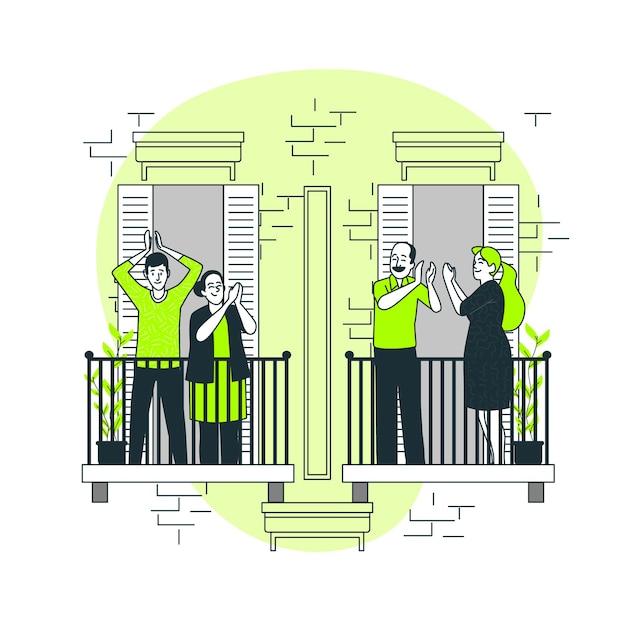 Люди хлопали в ладоши на балконе концепции иллюстрации Бесплатные векторы