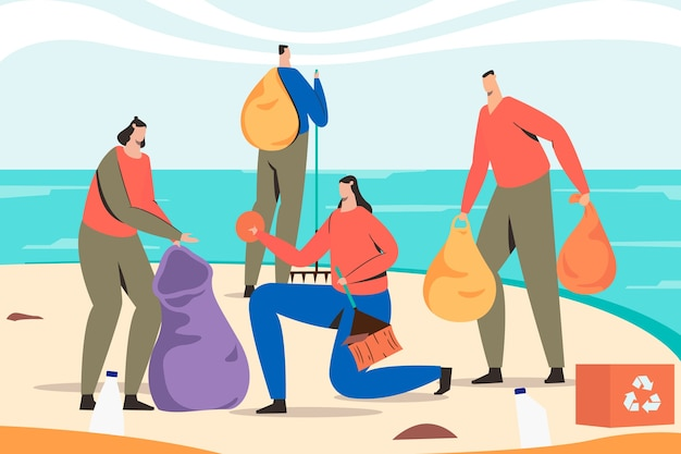 People cleaning beach and recycle Free Vector