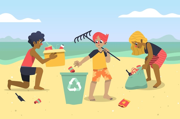 People cleaning beach Free Vector