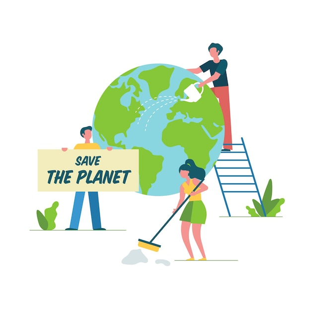 People cleaning and restoring the earth Free Vector