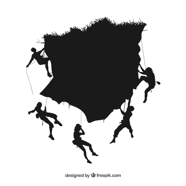 People climbing mountain vector silhouettes Free Vector