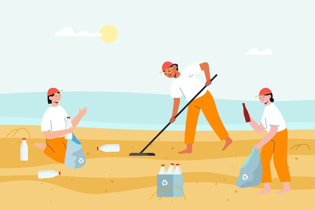People collecting the garbage from the sand Free Vector