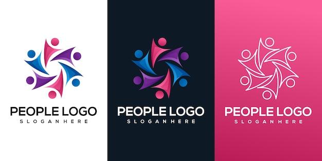 Люди красочный логотип градиент Premium векторы