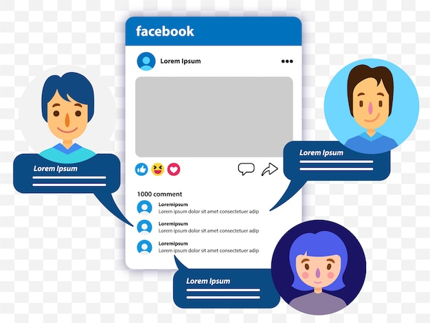 People comment on facebook Vector | Premium Download