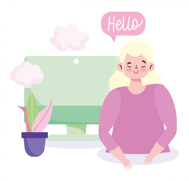 People communication and technology, young woman computer hello bubble Premium Vector