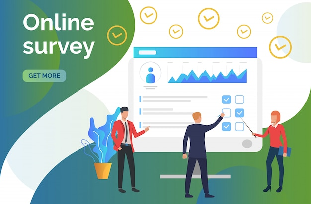 People at computer monitor with survey Free Vector