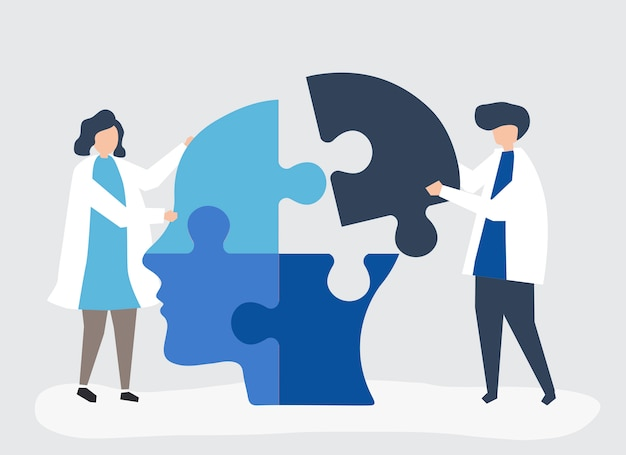People connecting jigsaw pieces of a head together Free Vector