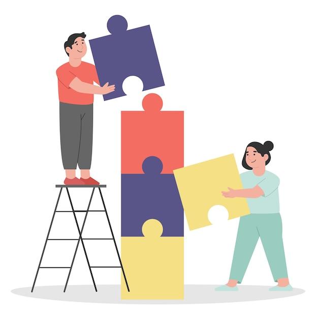 팀 작업의 퍼즐 요소 기호를 연결하는 사람들 프리미엄 벡터